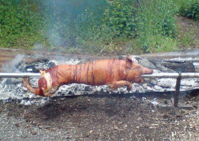 Cochon entier à la broche